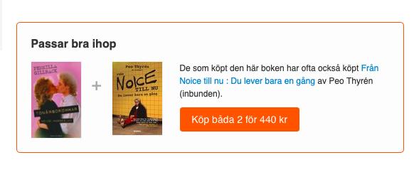 Text från Bokus om att köpa både Tonårsdrömmar och Från Noice till nu